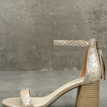 Seychelles Fury Silver Leather Ankle Strap Heels