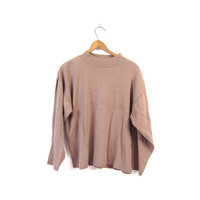 Brown Boxy Shirt Basic Mock Neck long sleeve Cropped Top Slouchy Faded Boho Cotton Top grunge Plain Beige Taupe tee womens Medium