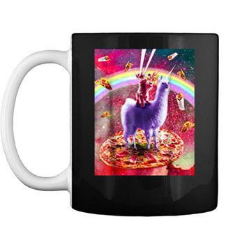 Laser Eyes Outer Space Cat Riding On Llama Unicorn  Mug