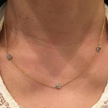 Luxinelle 1 Carat Pink Diamond Necklace - Raw Uncut Rough Diamonds in 14K Bezel and Chain
