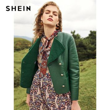 SHEIN Green Weekend Casual Double Breasted Faux Shearling Coat Office Lady Streetwear Women Coats And Outerwear
