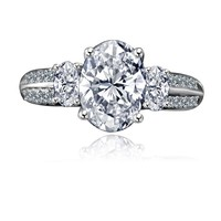 2.50 CT. Oval Classic three stone engagement/wedding Sterling Silver Ring Simulated Diamond - Diamond Veneer 635R3232