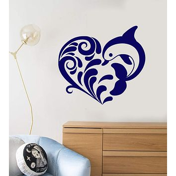 Vinyl Wall Decal Heart Ornament Cartoon Dolphin Sea Style Stickers (2139ig)