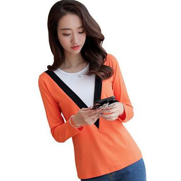 PEAPUNT 2016 New Autumn Tshirt Women's Casual False Two Clothes Hit Color T-shirt O-neck Tops Long Sleeve Bottoming Free Shipping