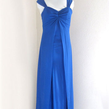 blue dress, vintage dress, long dress, evening gown, bridal dress, size medium, party dress sleeveless gown, bohemian clothing holiday gypsy