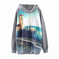 MapleClan Grey Hooded Long Sleeve Car Print Sweatshirt Pullover Hoodies P6