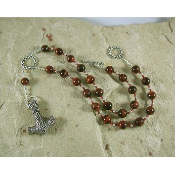 Thor Prayer Bead Necklace in Red Tiger Eye:  Norse God of Thunder, Protector of Humanity
