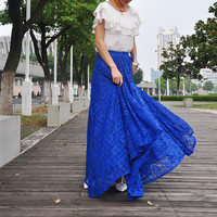 High Waist Maxi Lace Skirt Autumn Skirts Elegant Elastic Waist Spring Skirt Floor Length Long Skirt (038)
