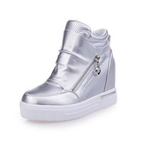 Silver Flat Within The Higher Zipper Casual Shoes