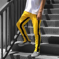 Side Patchwork Elastic Waist Straight Track Pants