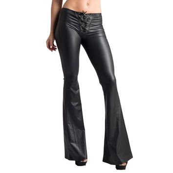 Women's Sexy Black Wide Leg Lace Up Faux Leather Bell Bottom Fashion Leggings