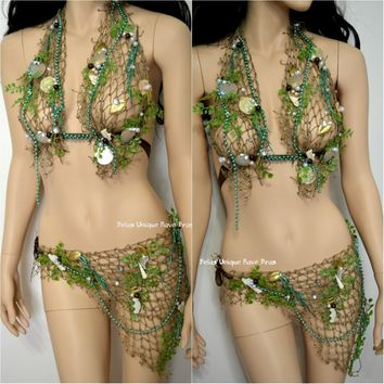 Sirens Of The Sea Mint Green Netted Mermaid Halter Bra Top Skirt