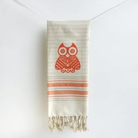 Owl Kitchen Dish Towel - Orange, Oatmeal Tan , Brown, Grey, Gray Stripes, Tea Towel, Kitchen Decor, Turkish style towel