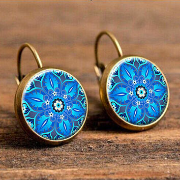 Dome earring henna hand made crystal jewelry pendant blue flower mandala flower earring om symbol Zen Buddhism