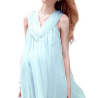 Light Blue Sleeveless Ruffled Maternity Dress