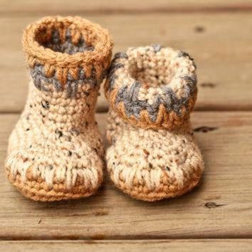 ICIK8X2 Crochet Baby Booties - Baby Moccasins - Earthy Brown and Natural Tweed Baby Shoes - In