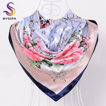 Silk Scarf Shawl For Women 2016 Winter Peony Chain Design Large Square Scarves Wraps Spring Autumn Head Scarves