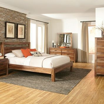 5 pc Peyton collection rustic country style natural brown finish wood queen bedroom set with wood grain finish
