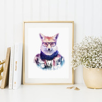 FOX HIPSTER Watercolor Art Fashion Print Watercolor Animal Hpister Printable Instant Download High Fashion Poster Waterclor Bear Poster Art