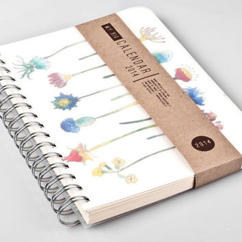 2014 MAY to 2015 MAY Weekly Planner Calendar Diary Day Spiral A5 Floral Flower Agenda Day Planner - 2014 May - 2015 May