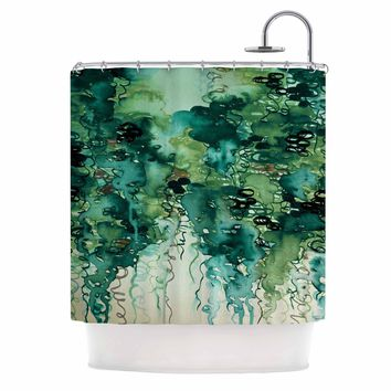 "Ebi Emporium ""Beauty In The Rain, Green"" Emerald Green Shower Curtain"