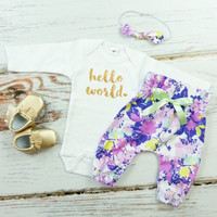 Hello World Baby Take Home Outfit | Purple Flowers High Waisted Pants outfit with Sparkly Gold Hello World