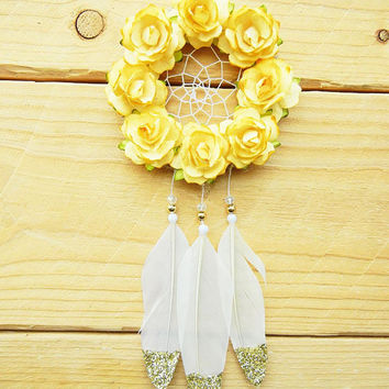 Yellow and Gold Flower Dreamcatcher: Car Dreamcatcher, Small Dreamcatcher, Interior Car Accessory, Yellow Car Decor, Rearview Mirror Charm