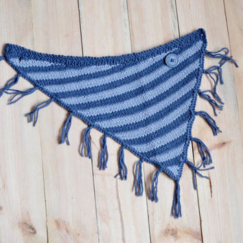 Knitted bandana bib // Blue grey striped bandana scarf, toddler cowl, knitted bib, fringe kids bandana bib, hand knit bandana, onward onward