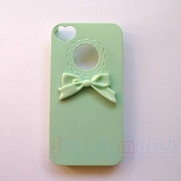 1PCS Hand-made Simple bowknot with Mint Green call phone case for iPhone 4 4s or iPhone 5 5s  cover