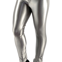 BadAssLeggings Women's Shiny Disco Pants Medium Silver