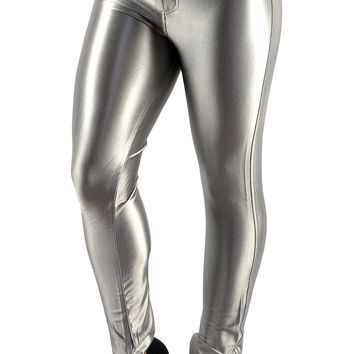 BadAssLeggings Women's Shiny Disco Pants XL Silver