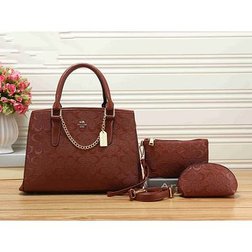 Coach Popular Classic Women Leather Handbag Shoulder Bag Crossbody Purse Wallet Set Three Piece Brown I-KSPJ-BBDL