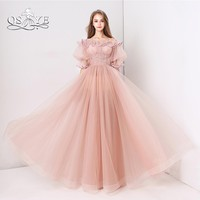 QSYYE Pink Long Prom Dresses 2018 Robe de Soiree Off Shoulder Ruffles Neck Floor Length Tulle Formal Evening Dresses Party Gown