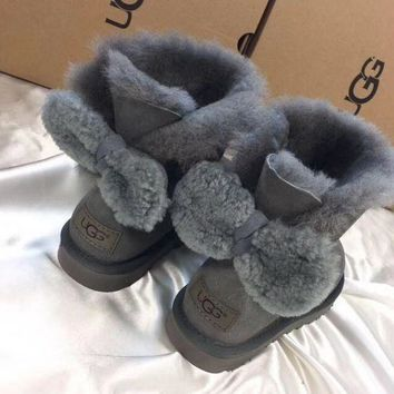 UGG Fashion Winter Women Bowknot Flat Warm Snow Ankle Boots Dark grey G-1