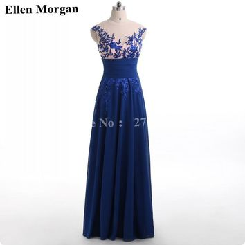 Royal Blue Corset Chiffon Prom Dresses 2018 Elegant Party Long Sexy Red Carpet Cheap Stock Formal Evening Gowns For Women Wear