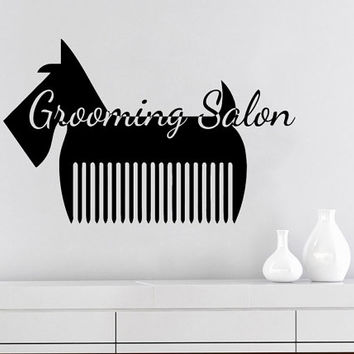 Grooming Salon Wall Decal Pet Shop Vinyl Sticker Decals Dog Comb Scissors Grooming Salon Decor Interior Art Murals Window Decal AN732