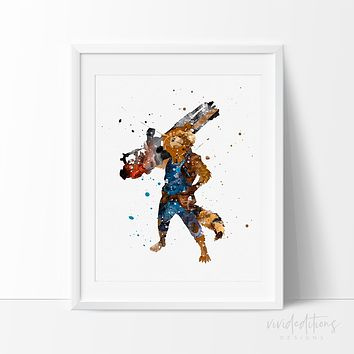 Guardians of the Galaxy Rocket Raccoon Watercolor Art Print
