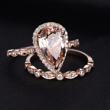 3.18ct Pear Cut natural morganite engagement ring set,Milgrain diamond wedding band,2pcs ring,14k rose gold,Marquise band,HALO promise ring
