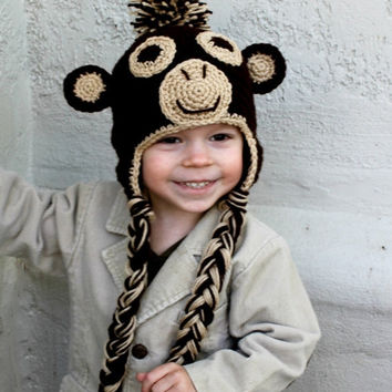 Monkey Earflap Hat for toddler or baby, Crochet Hat