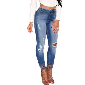 2016 New 2017 Hot Fashion Ladies Cotton Denim Pants Stretch Womens Bleach Ripped Knee Skinny Jeans Denim Jeans For Female