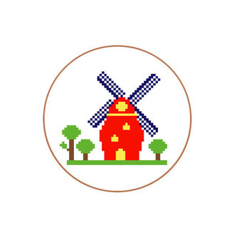 Modern cross stitch pattern Dutch Windmill with tree, Make this Holland memoria gift for him or her. Pattern in English, Spanish & Dutch