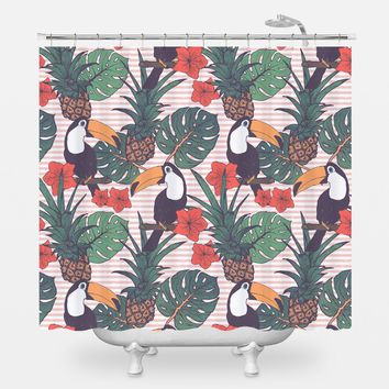 Toucans and Pineapples Shower Curtain