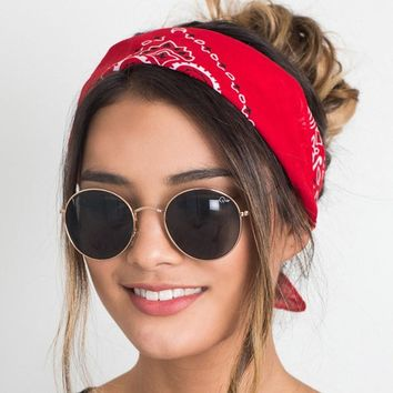 Korea Fashion 2017 Women Hair Accessories Linen Bandana Scarf Square Female Bandanas Headwear Rock Cool Girls Multi Headbands