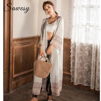 Tribal Style Long Kimono Cardigan 2018  Summer Fashion Chiffon Women Blouse Nine Quarter Sleeve Casual Loose Cardigan Women Tops