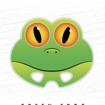 Printable Mask, Halloween Mask, Animal Mask, Frog Mask, Green Frog, Photo Booth Props, Kids Costume, Kermit, Cosplay, Party, Prince, Froggy