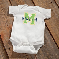 Personalized Baby Onesuit - Baby Boy Initial Design