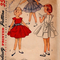 Simplicity 4273 Vintage 50s Sewing Pattern Girls Party Dress Full Circle Skirt Springtime Easter Outfit
