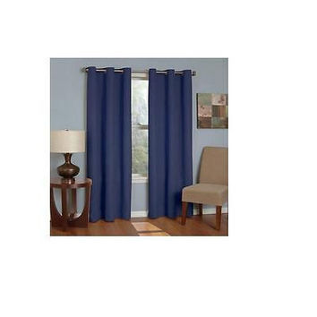 Eclipse Microfiber Grommet Blackout Window Curtain Panel: 42  X 95 Navy