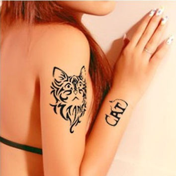 Stylish Creative Cats Lucky Waterproof Tattoo Sticker [6283899078]