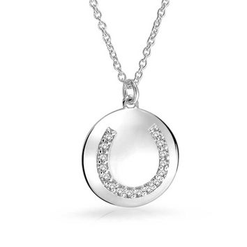 Cubic Zirconia Round Disc Good Luck Horseshoe Pendant Necklace For